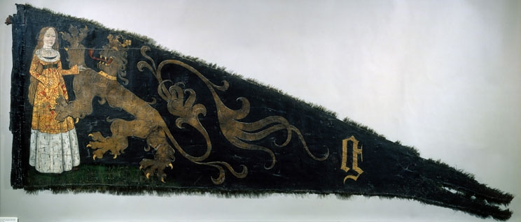 Battle standard of the Ghent civic militia emblazoned with the Maid of Ghent, Agnes vanden Bossche, ca. 1482, Ghent, STAM, Inv. 787